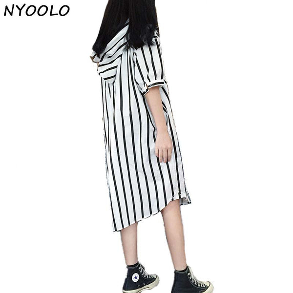 Long Striped Hooded Shirt - Black