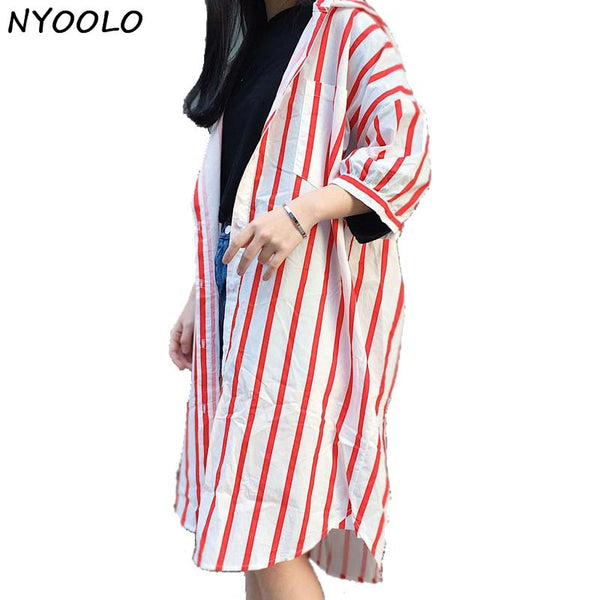 Long Striped Hooded Shirt - Red