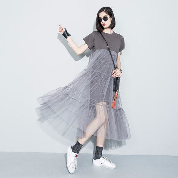 Splice Dress - Gray, , , PINK IN TŌKYŌ  - 1