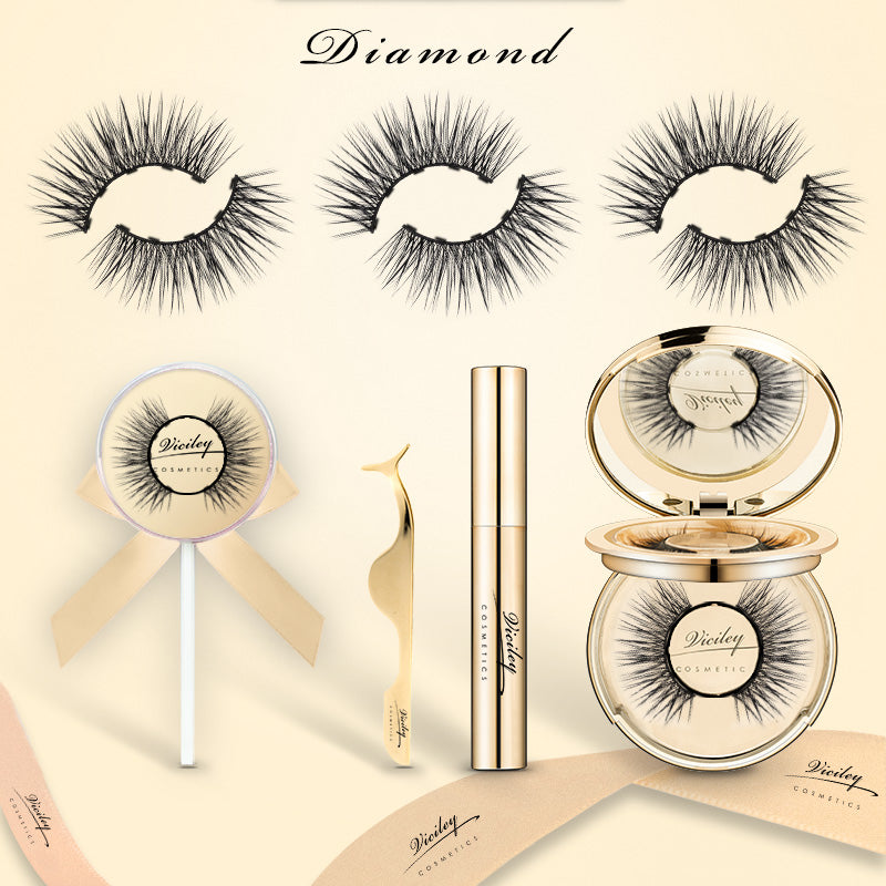 Viciley Magnetic Lashes Kit (3 Pairs) - Golden Gift Package/Diamond