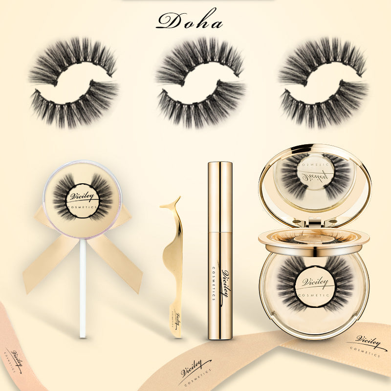 Viciley Magnetic Lashes Kit (3 Pairs) - Golden Gift Package/Doha