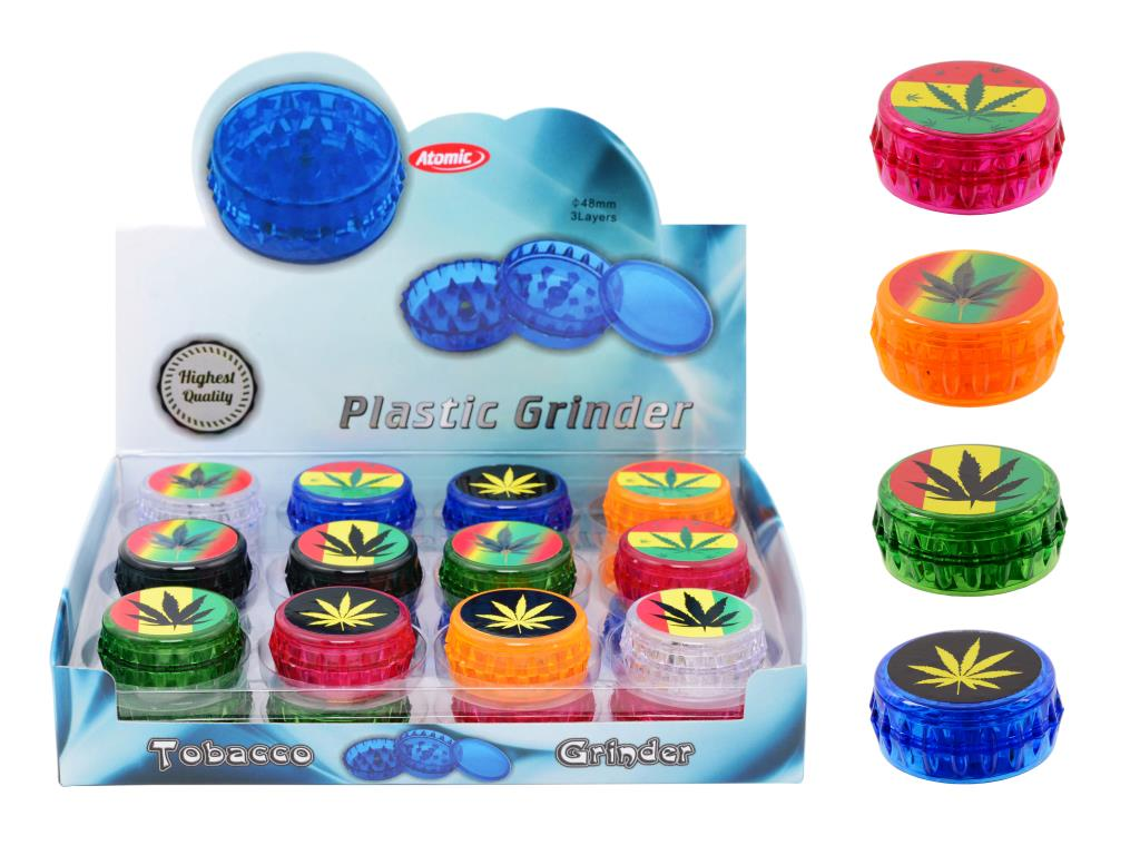 Atomic Leaf Plastic 3 Piece Grinder