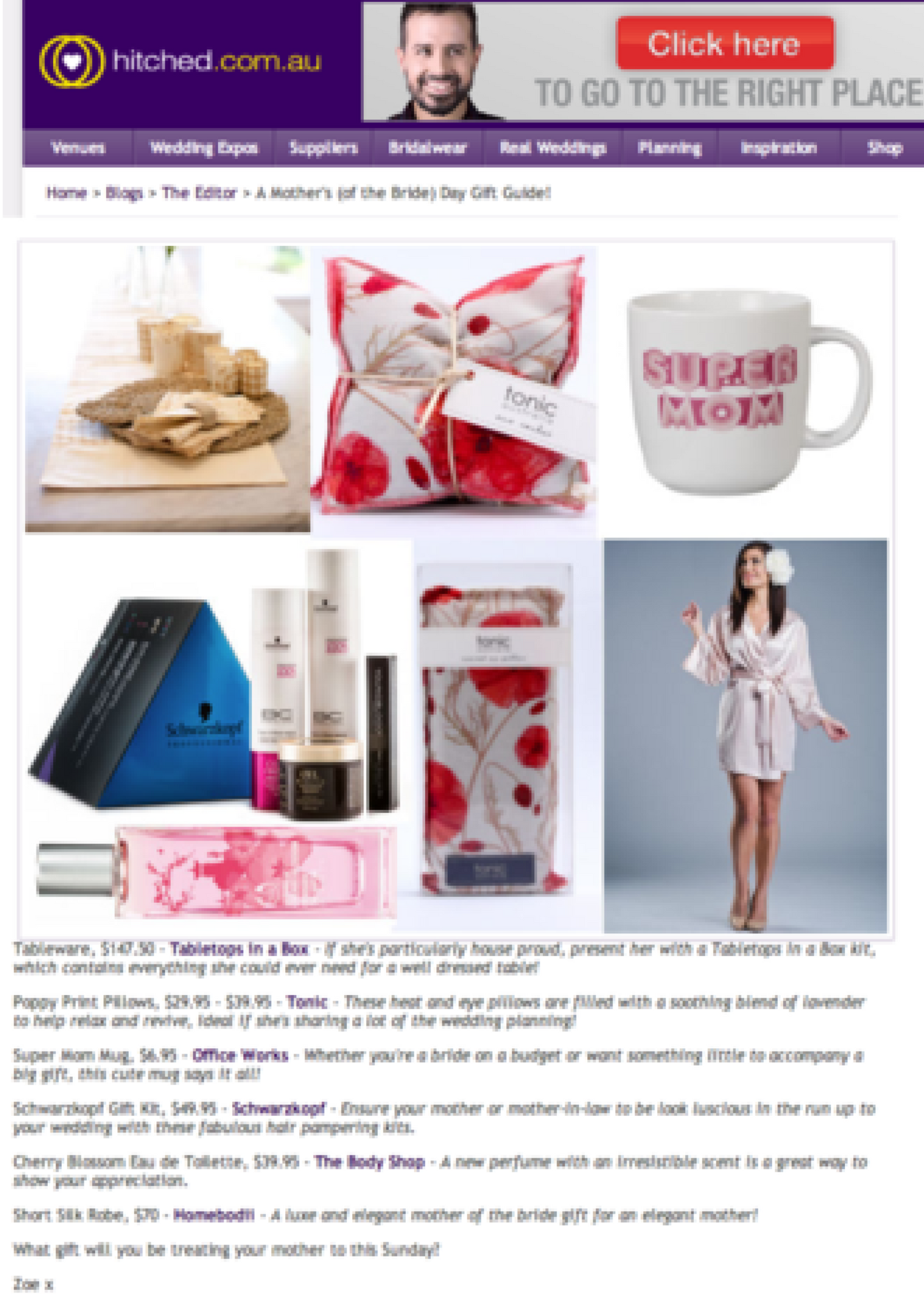 Hitched.com.au Mothers Day Gift Guide.