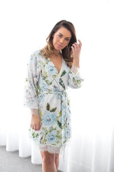 Amalia lace trim robe