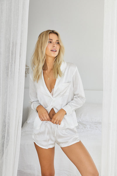 white satin pyjama set