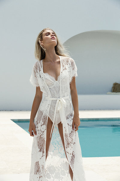 white lace robe