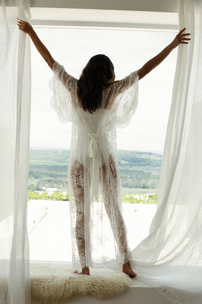 full length white lace robe