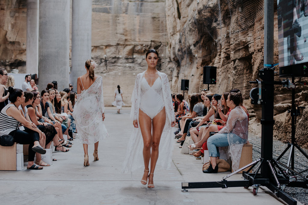 Homebodii Anemone Long Lace Robe at One Fine Day Fair Runway Show