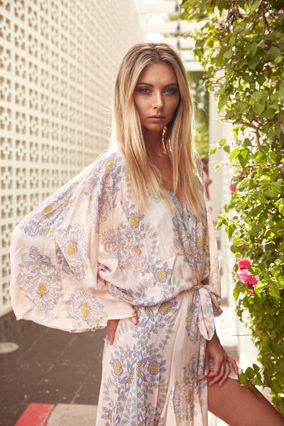 Homebodii Bohemian Robe with Floral Print