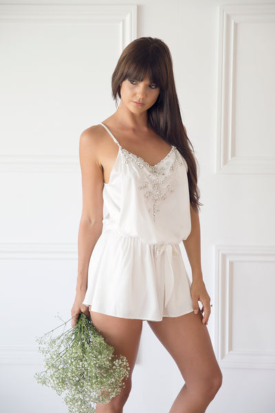 Dani Bonnor in Homebodii Chloe Beaded Playsuit