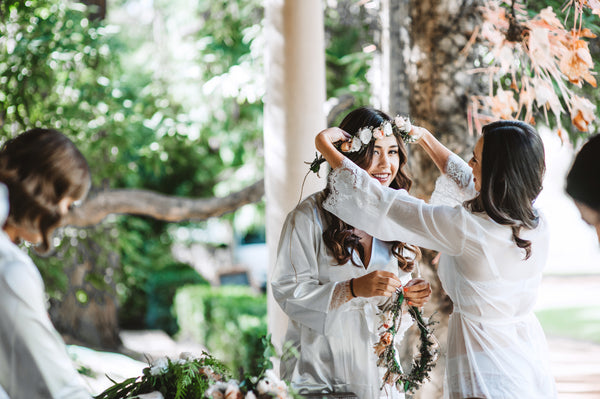 Bridal Party Getting Ready in Bridal Robes