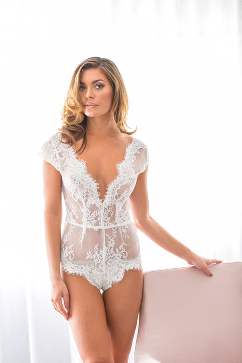 Bridal lace bodysuit