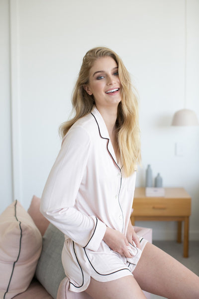 Petra Long Sleeve PJ Set - Blush - Homebodii
