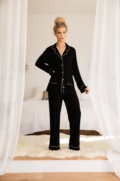 Abby Long PJ Set - Black - Homebodii