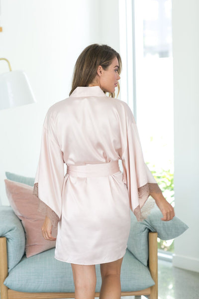 Astrid Kimono Robe - Blush & Chocolate Lace - Homebodii