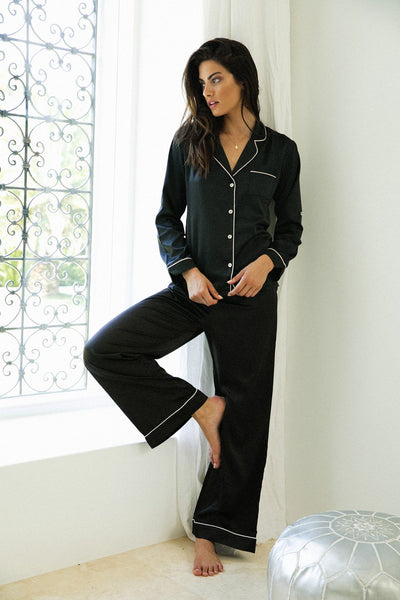 Sabrina Long Pj Set - Black - Homebodii