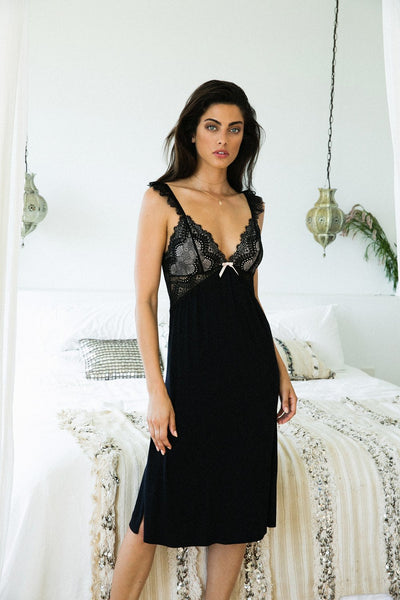 Petra Nightie - Black - Homebodii