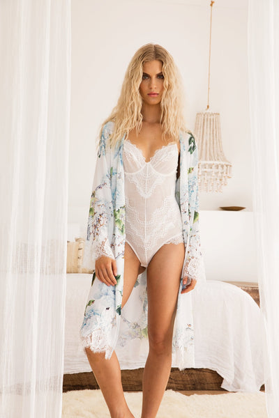 Amalia Tea Length Lace Robe - Homebodii