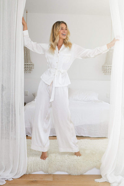 Imogen PJ Lounge Set - White - Homebodii