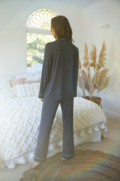 Petra Long PJ Set - Charcoal - Homebodii