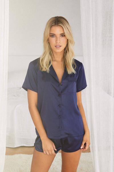 Toni Short Sleeve PJ Set Navy - Homebodii