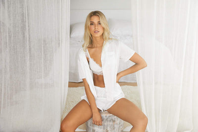 Toni Short Sleeve PJ Set White - Homebodii