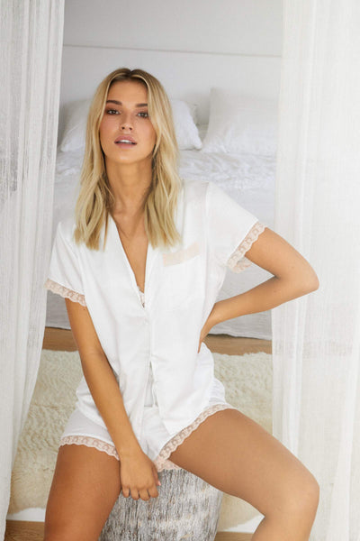Pammy PJ Set - White with Blush Lace - Homebodii