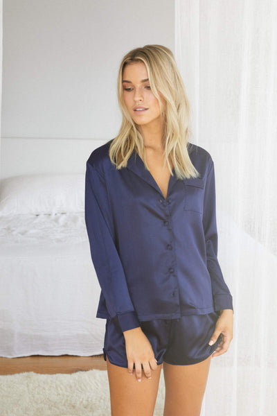 Toni Long Sleeve PJ Set - Navy - Homebodii