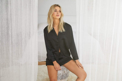 Toni Long Sleeve PJ Set - Black - Homebodii