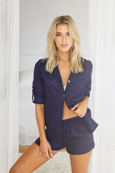 Linen Long Sleeve PJ Set - Navy - Homebodii