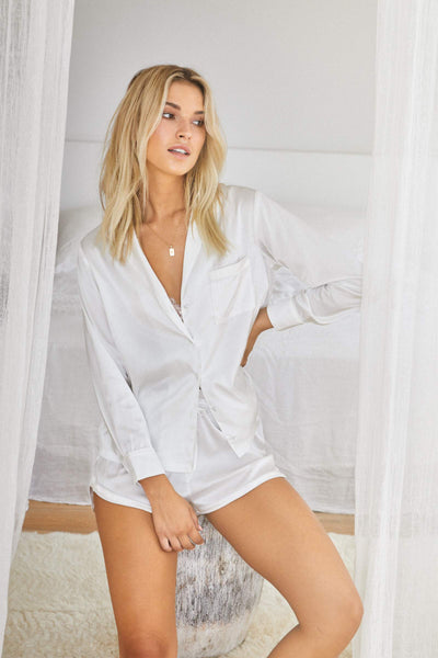 Toni Long Sleeve PJ Set - White - Homebodii