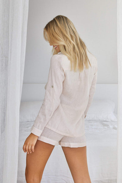 Linen Long Sleeve PJ Set - Blush with White