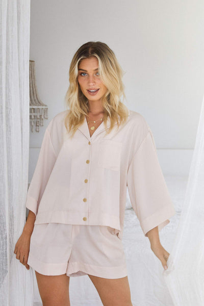 Oasis Short PJ Set - Blush - Homebodii