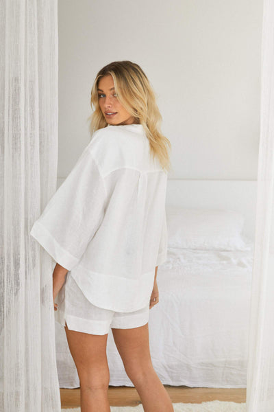 Riviera Linen PJ Set - White - Homebodii