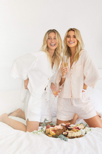 Riviera Linen PJ Set - Blush - Homebodii