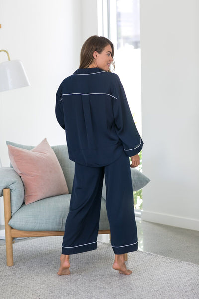 Elle Oversized Long PJ Set - Navy - Homebodii