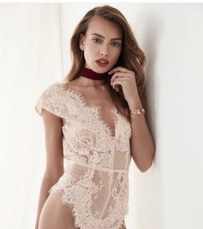 Tatiana Lace Bodysuit - Blush - Homebodii