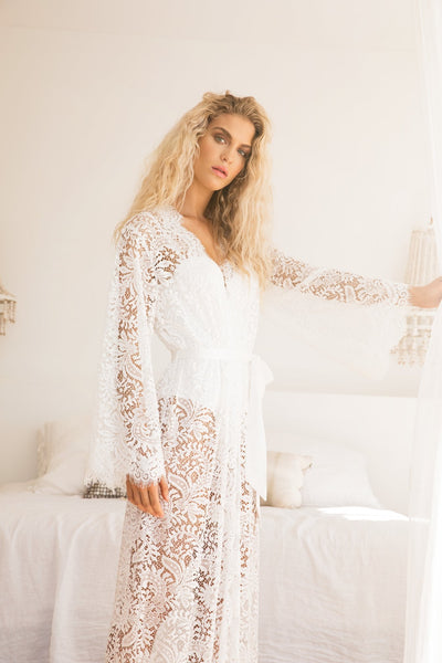 Anémone Long Lace Robe - Homebodii