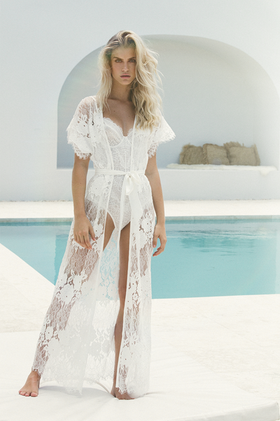 Amira Long Lace Robe - Homebodii
