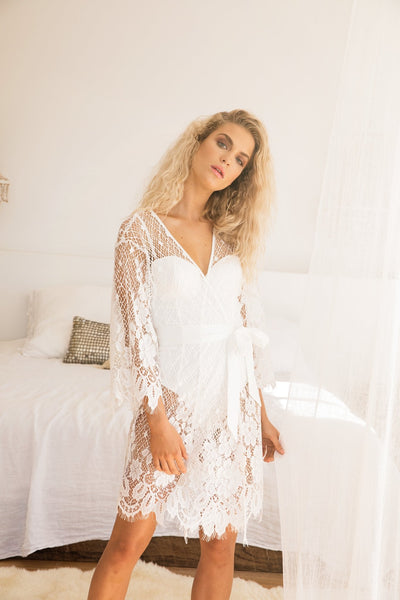 Autumn Short Lace Robe - Homebodii