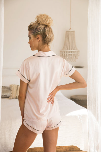 Grace Short Piping PJ Set - Blush - Homebodii