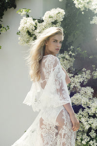 Leah Long Lace Robe - Homebodii
