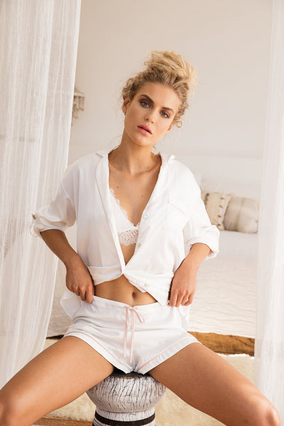 Piping Long Sleeve PJ Set - White - Homebodii