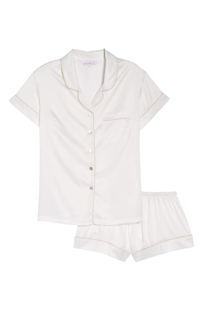 Short Piping Pyjama Set White - Homebodii