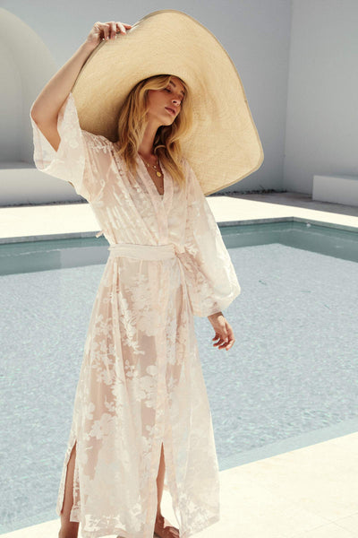 Stevie Maxi Robe - Blush - Homebodii