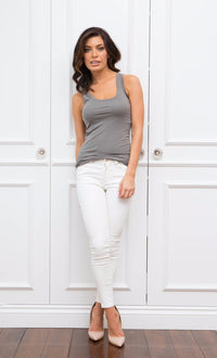 Organic Pima Tank French Grey - Homebodii
