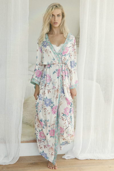 Long Boho Robe - Ivory - Homebodii