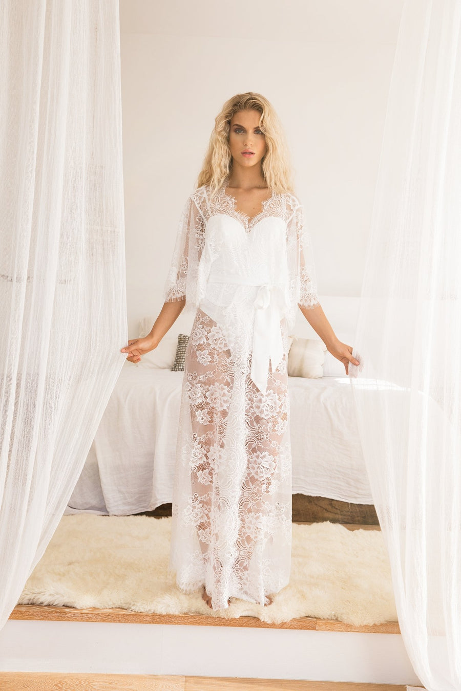 28aec1f58820 Kassiah Long Lace Robe - Homebodii