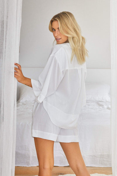 Oasis Short PJ Set - White - Homebodii