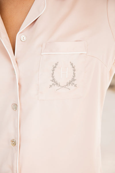 Piping Long Sleeve PJ Set - Blush - Homebodii
